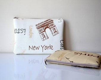 Popart leather clutch-Fold Over leather  clutch-London ,Istanbul,Eifel,New York
