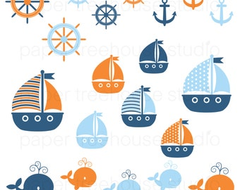 Clip Art Set - Sailboats, Anchors and Whales - Orange, Blue and Sky Blue - 20 Print Ready Files - JPG and PNG Format - ID 239