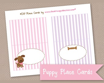 Puppy Dog Birthday Party Labels, Place Cards - INSTANT DOWNLOAD