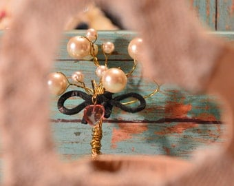 Tree of Life Wire Wrapped Glass Pearls Boutonniere