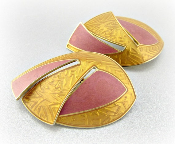 Vintage HUGE Statement Earrings, Designer BEREBI, Big Large Gold Leaf Earrings, Pink Enamel Earrings, Clip-on Earrings, 1980s Retro Jewelry