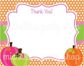 NEW - SET OF 12, Pumpkin Thank You Notes, with envelopes
