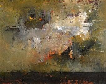 Kansas Abenddämmerung — Original Oil Painting Landscape Painting by John W. Shanabrook, 5 x 7