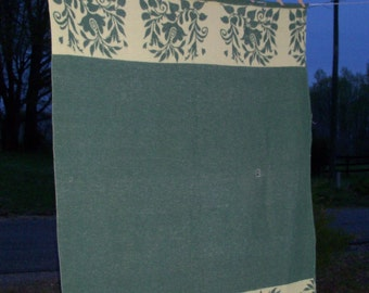 Camp Blanket Throw Early Example Forest & Lime Floral Basket Rare Rustic Living Find