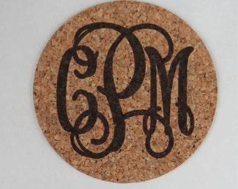 Cork Monogram Coaster - Wedding Gift, Anniversary Gift, Birthday Gift