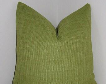 "Lime Green Belgium Basketweave Pillow Cover 18""x18""- 20""x20""- Decorative Pillow Cover - Invivisible Zipper"
