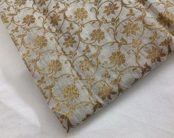 One yard beige and gold chanderi cotton silk with gold flowers