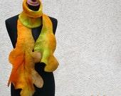 Autumn Leaf felt scarf -  Australian merino, fall colors, wet felted wool. Unusual scarf. Unique, designer scarf. Wearable art to wear.