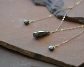 Iron Pyrite Necklace, Triptych Necklace, Delicate Gold Chain, Fools Gold