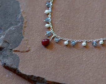 Ruby Necklace, Mixed Gemstone Necklace, Labradorite, Freshwater Seed Pearls, Delicate Sterling Silver Chain