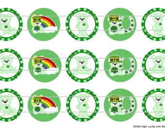 "15 Lucky Irish Bears 1 Digital Download for 1"" Bottle Caps (4x6)"