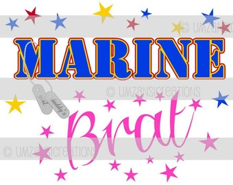 "DIY Printable ""Marine Brat"" Iron On Transfer (PNG Digital Image)"