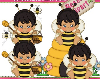 Baby Boy Bumble Bee 1 Clipart (Digital Download)