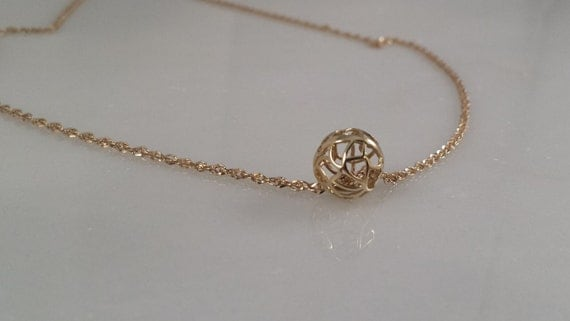 14K SOLID Gold  Simple Open Ball Necklace
