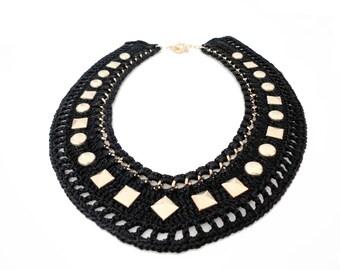 SALE - Black Studded Collar Statement Necklace