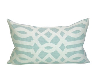 Imperial Trellis lumbar pillow cover in Mineral