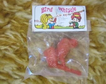 Vintage Plastic Bird Whistle Toy in Original Wrapper New Old Stock Hong Kong Big Eyed kids kitschy toy