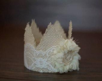 Newborn Burlap and Lace Crown, Newborn Photography Prop, Baby Crown, Burlap Crown, Newborn Crown