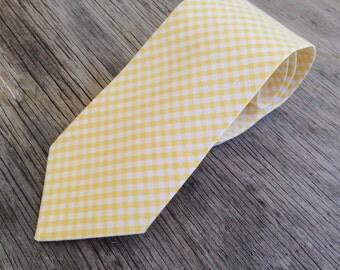 Men's Yellow Tie - Yellow Wedding - Men's Groomsmen's Ties - Yellow and White Neck tie - Yellow Wedding Tie