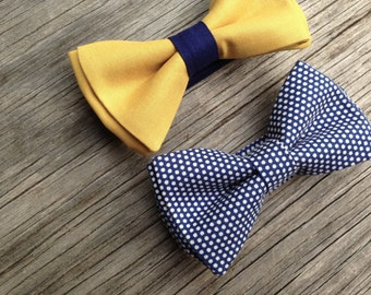 Mustard bow tie - mustard bowtie - navy bow tie - yellow and navy wedding - yellow bow tie - bow tie for boys - color block tie - bow tie