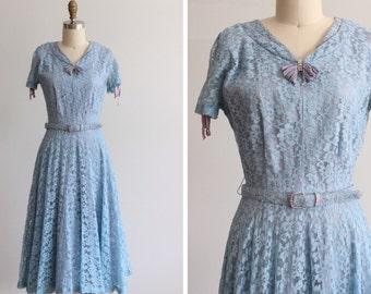 1950s Blue Leticia Lace Dress