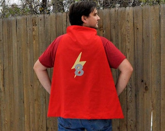 Adult Sized Super Hero Cape...Personalized Reversible Cape...monogram..custom...eco-friendly