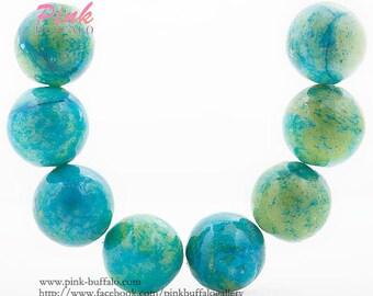 chrysocolla round beads 14mm blue green yellow