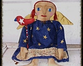 Primitive Folk Art Patriotic Angel Annie Ann Art Doll with Bird Stick