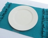 Set of 4 Turquoise Burlap Placemats Beachy Chic Decor Rustic Style Home Decor