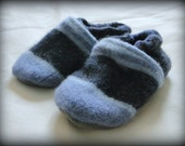 Adorable upcycled wool slippers with non slip soles-size 6-12-18 Month-baby/toddler
