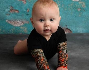Black Bodysuit Onesie Tattoo Sleeve Shirt for Babies