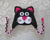 Black and Bright Pink Kitty Cat Crochet Hat - Photo Prop - Available in Any Size or Color Combination