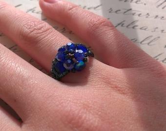 Blue Crystal Ring- Cobalt Blue Ring-  Blue Beaded Ring- Beaded Blue Ring- Blue Ring- Electric Blue ring
