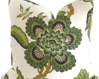 Schumacher Green Hot House Floral Decorative Pillow Covers 18x18, 20x20 or 22x22, 14x20 or 12x24
