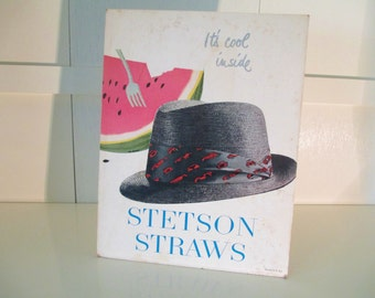 Vintage 60's Cardboard Counter Hat Advertisement Display Stetson Straws