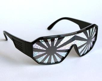 Rasslor Silver Star Burst Black Shield Sunglasses
