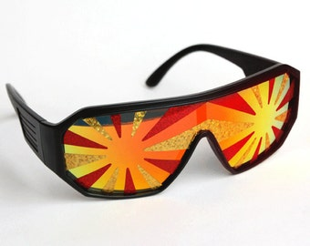 Rasslor Red and Gold Star Burst Shield Sunglasses