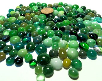 Kiln Formed Greens Glass Bubbles 170 Pieces (B694)