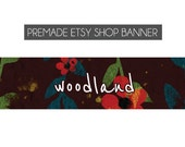 premade etsy shop banner, made to order - red, green, blue, brown, vines, floral, woods, nature