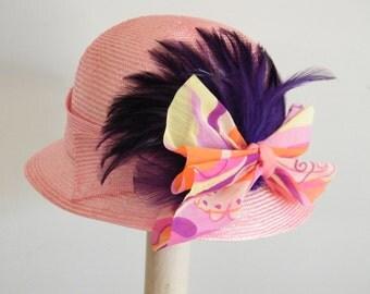 Pink straw parasisal hat,  womens straw hats Israel, designer summer hat Israel, hat for special events Israel