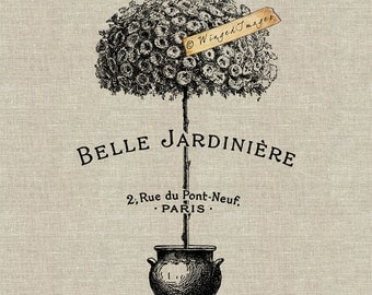 Belle Jardiniere Beautiful Garden Instant Download Digital Image No.96 Iron-On Transfer to Fabric (burlap, linen) Paper Prints (cards, tags)