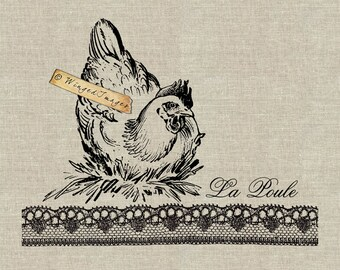 La Poule. French Hen Nest Instant Download Digital Image No.97 Iron-On Transfer to Fabric (burlap, linen) Paper Prints (cards, tags)