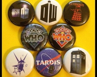 """8 Brand New 1"""" """"Dr. Who"""" Button Set"""