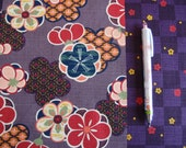 NEW Japanese Modern Blossom Fabric in Purple (Panel Design) by Cosmo  (HALF Yard)