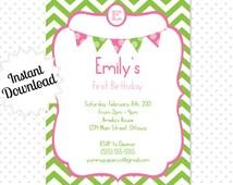 Editable Green, and Pink Chevron Party Invitation - Instant Download - Editable Invitation .. gpc01 Signature Collection