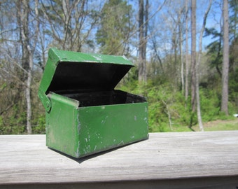 Green metal recipe box