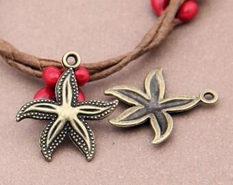 5pcs-Sea Star-Antique bronze metal Charm pendant beads-ALK 4551