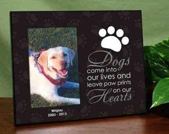 Personalized Pet Memorial Printed Frame, picture frame, pet memorial gift, dog memorial, photo frame, custom, paw print -gfy465956