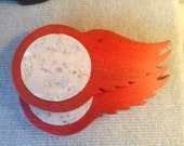 Detroit Red Wings Coasters in Solid Ash and Designer Cork