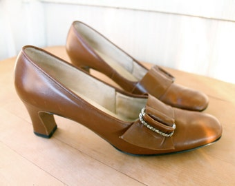 Naturalizer Chocolate Brown Mod Pilgrim Pumps 9